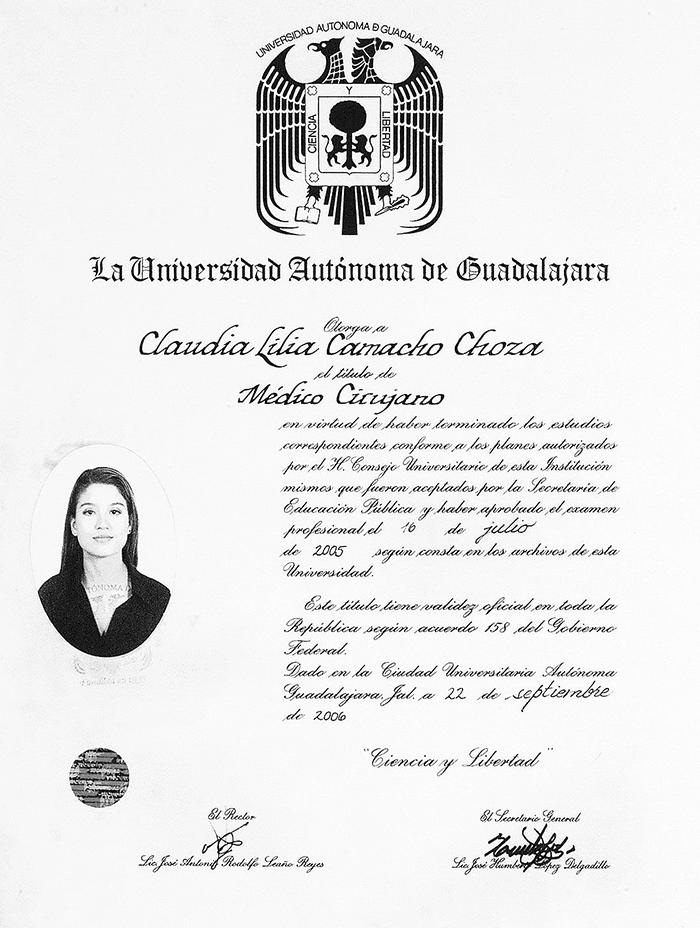 Certificado Oftalmologo de Ajijic