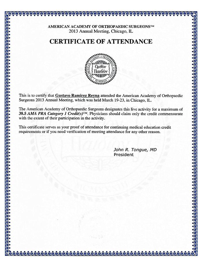 Certificado Ortopedia de Ajijic