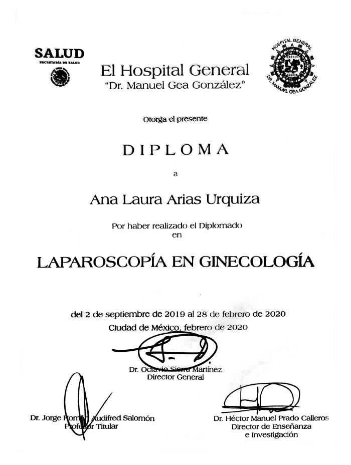 Certificados Ginecologia de Cancun