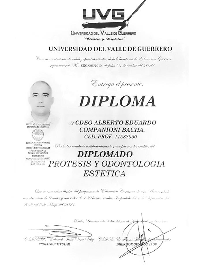 Certificado dentista de Cancun