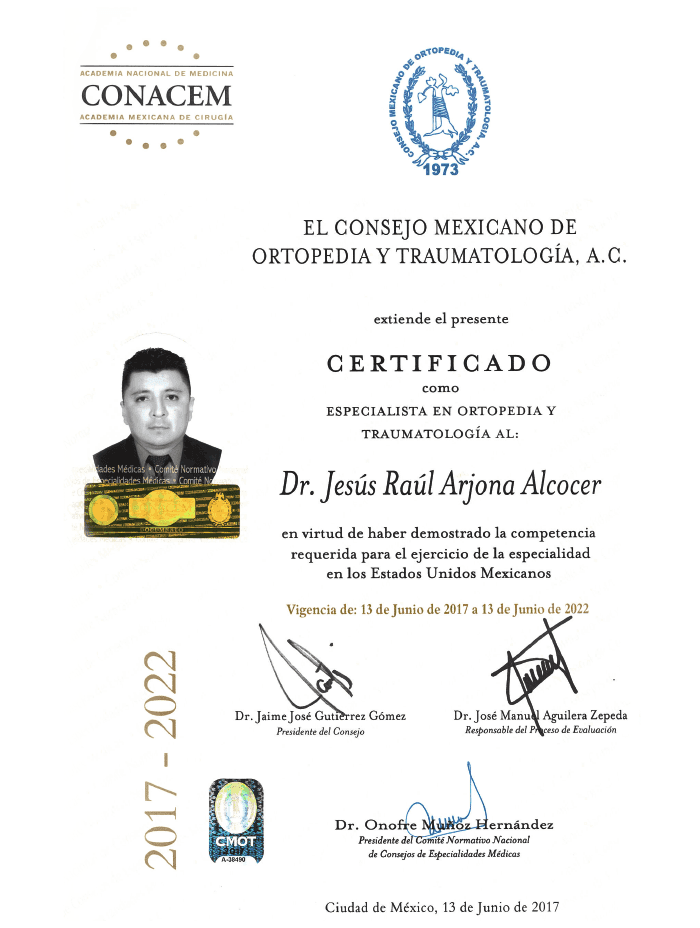 Certificado Ortopedia de Cancun