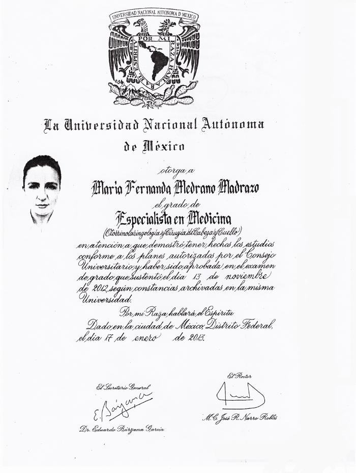 Certificados Otorrinolaringologia de Cancun