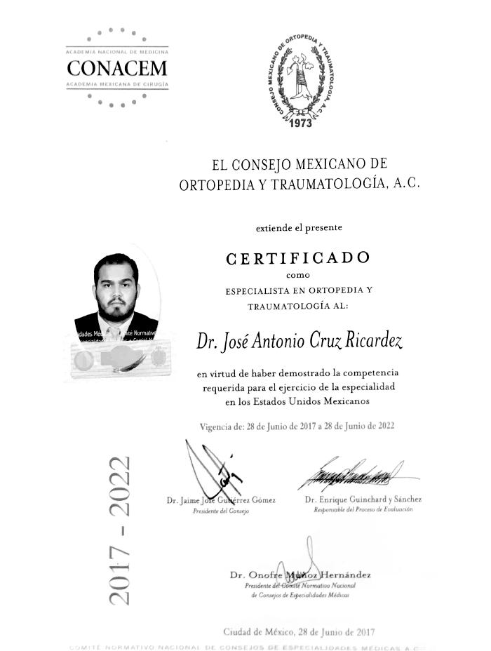 Certificado Ortopedia de Chiapas