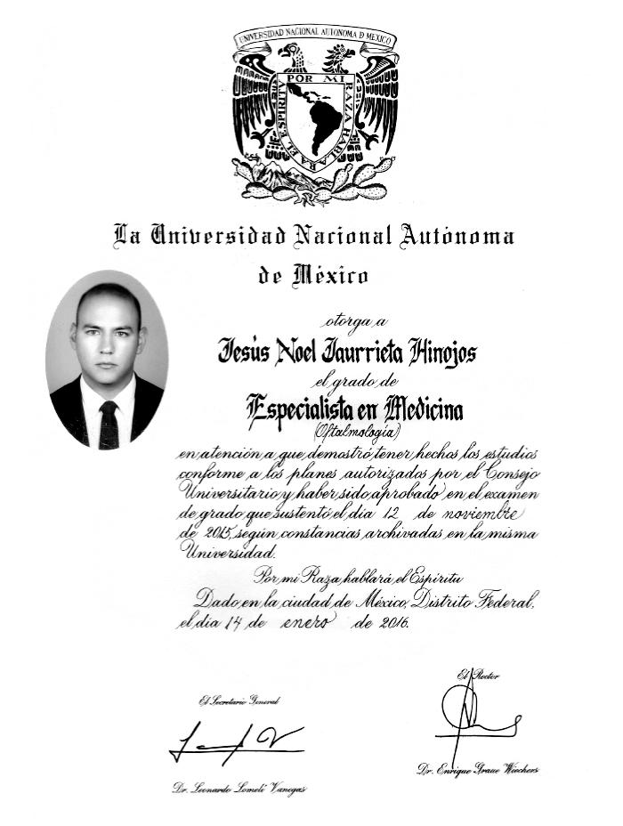 Certificado Oftalmologo de Chihuahua