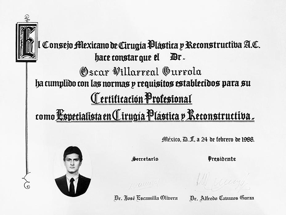 Certificado Cirugia Plastica de Ciudad Juarez