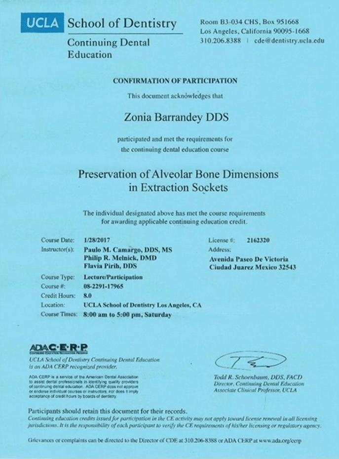 Certificado dentista de Ciudad Juarez