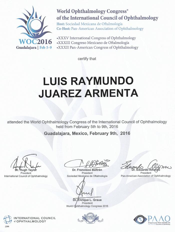 Certificado Oftalmologo de Ciudad Juarez