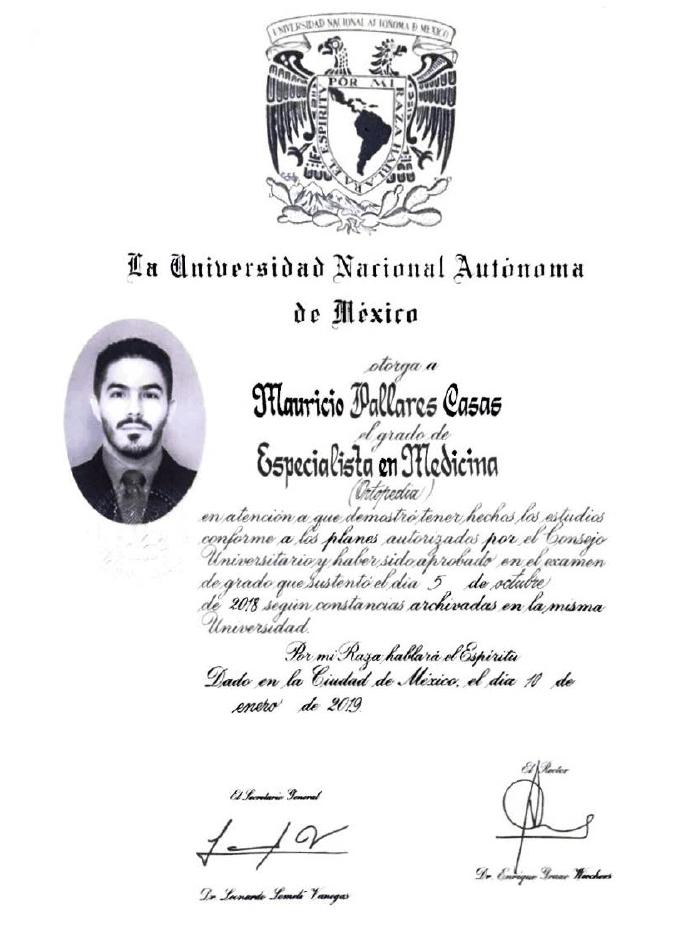 Certificado Ortopedia de Ciudad Juarez