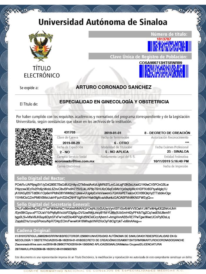 Certificado Neurocirujano de Durango