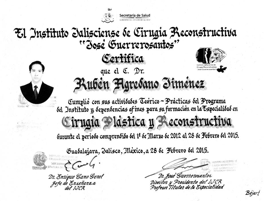 Certificado Cirugia Plastica de Guadalajara