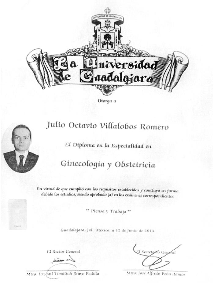 Certificado especialista en Fertilidad de Guadalajara