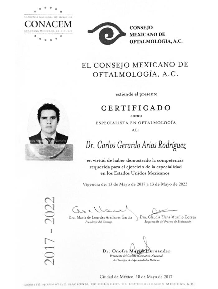 Certificado Oftalmologo de Guadalajara