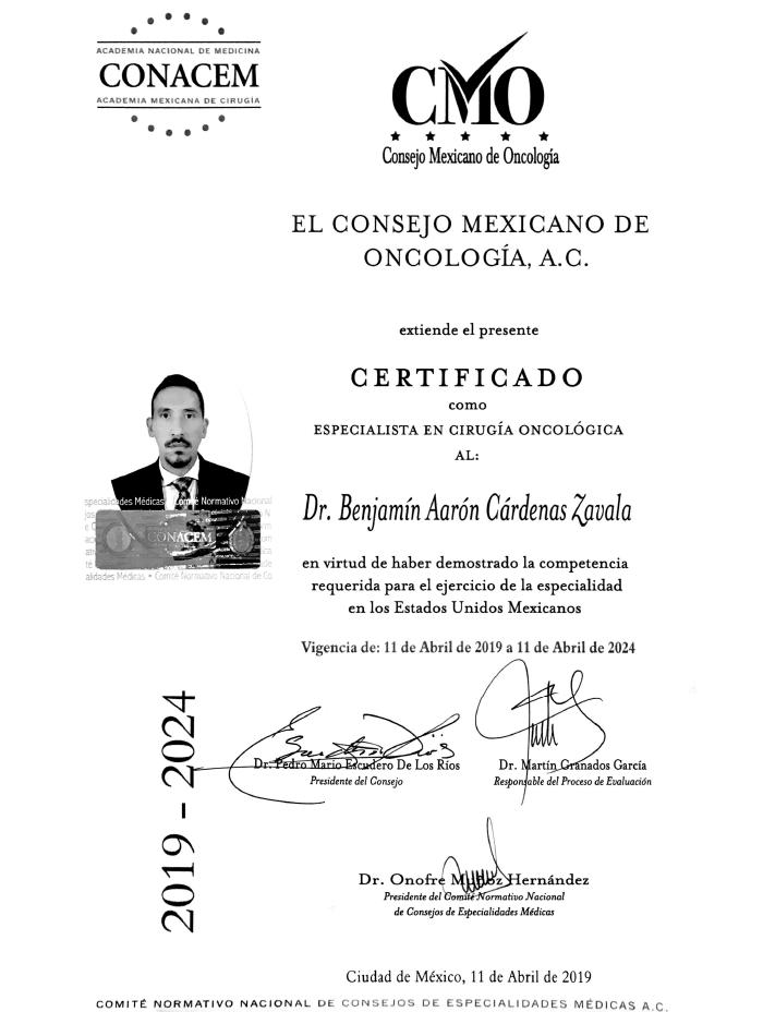 Certificados oncologia de Guadalajara