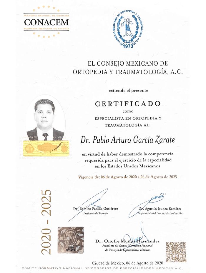 Certificado Ortopedia de Guadalajara