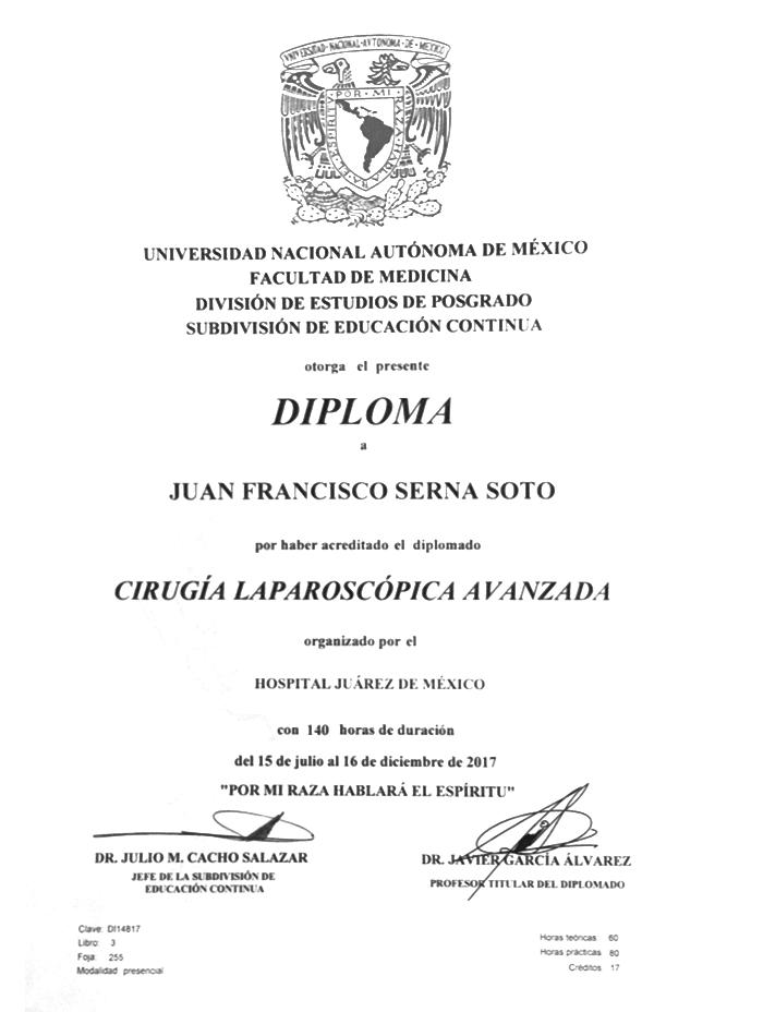 Certificado Bariatra de Hermosillo