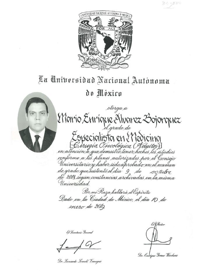 Certificados oncologia de Hermosillo