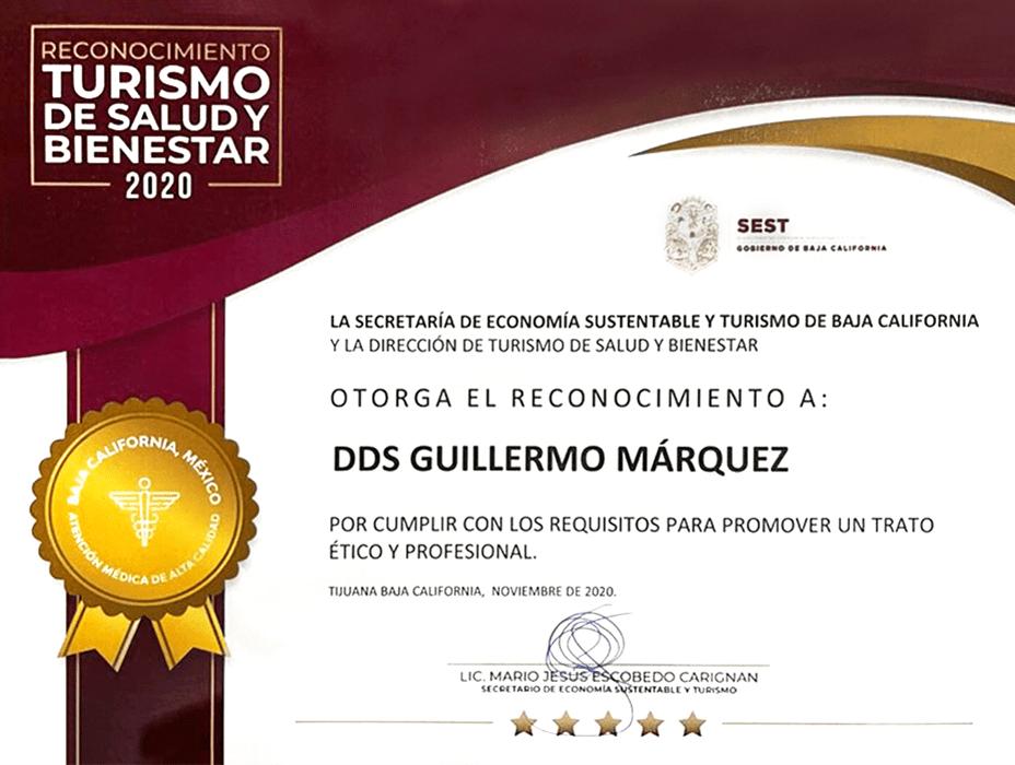 Certificado dentista de Los Algodones