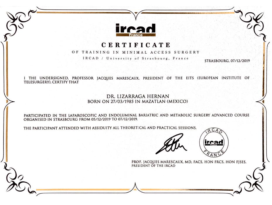 Certificado Bariatra de Mazatlan