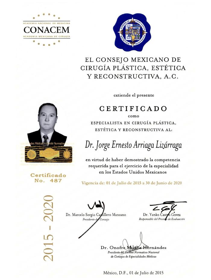 Certificado Cirugia Plastica de mazatlan