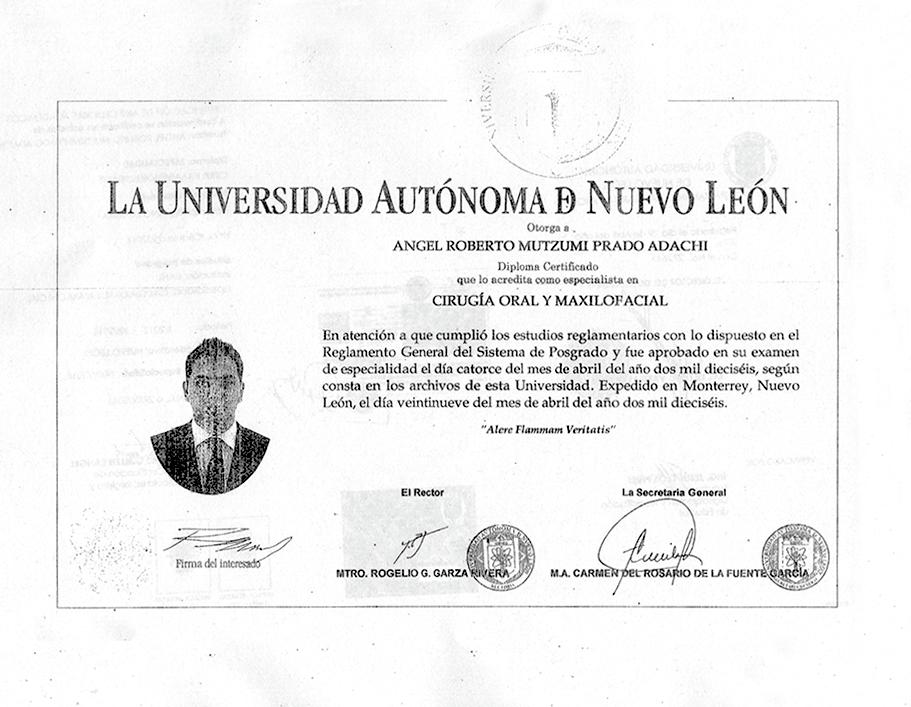 Certificado Maxilofacial de Mazatlan