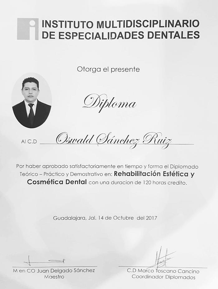 Certificado dentista de Mazatlan