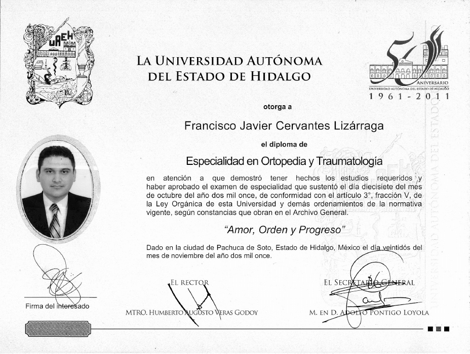 Certificado Ortopedia de Mazatlan