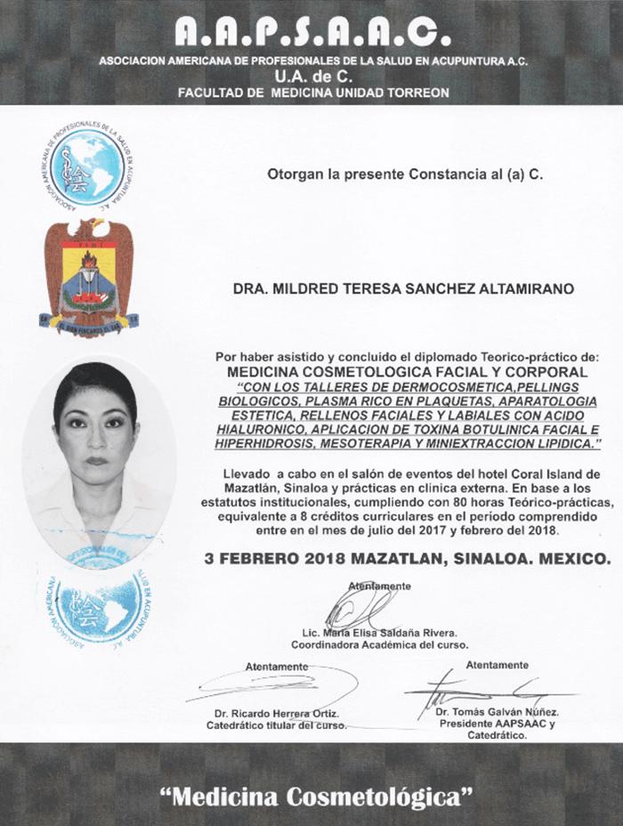 Certificado Rejuvenecimiento de Mazatlan