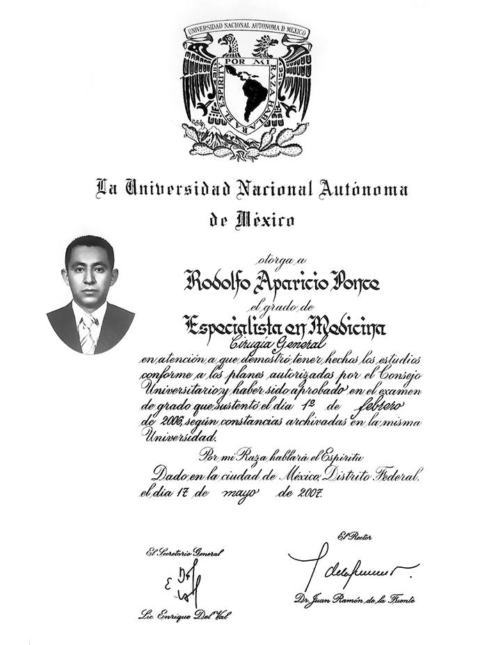 Certificado Bariatra de Merida
