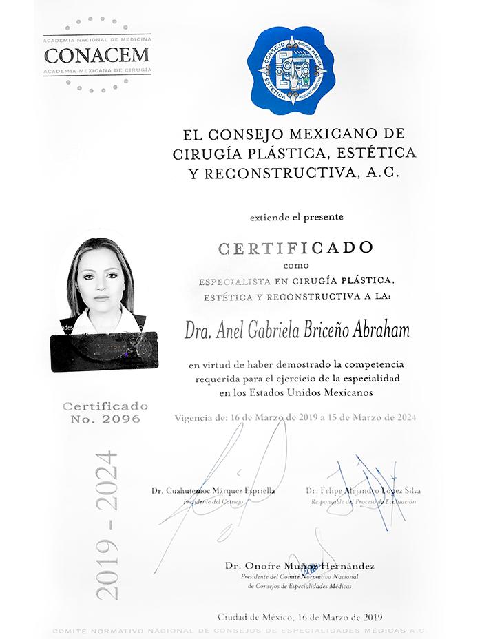 Certificado Cirugia Plastica de Merida