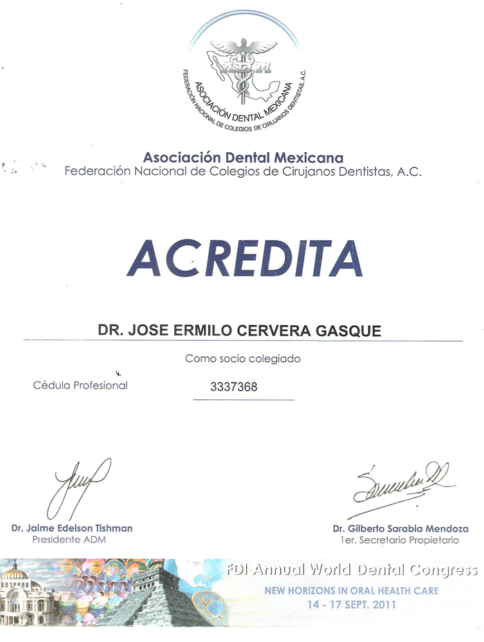Certificado dentista de Merida
