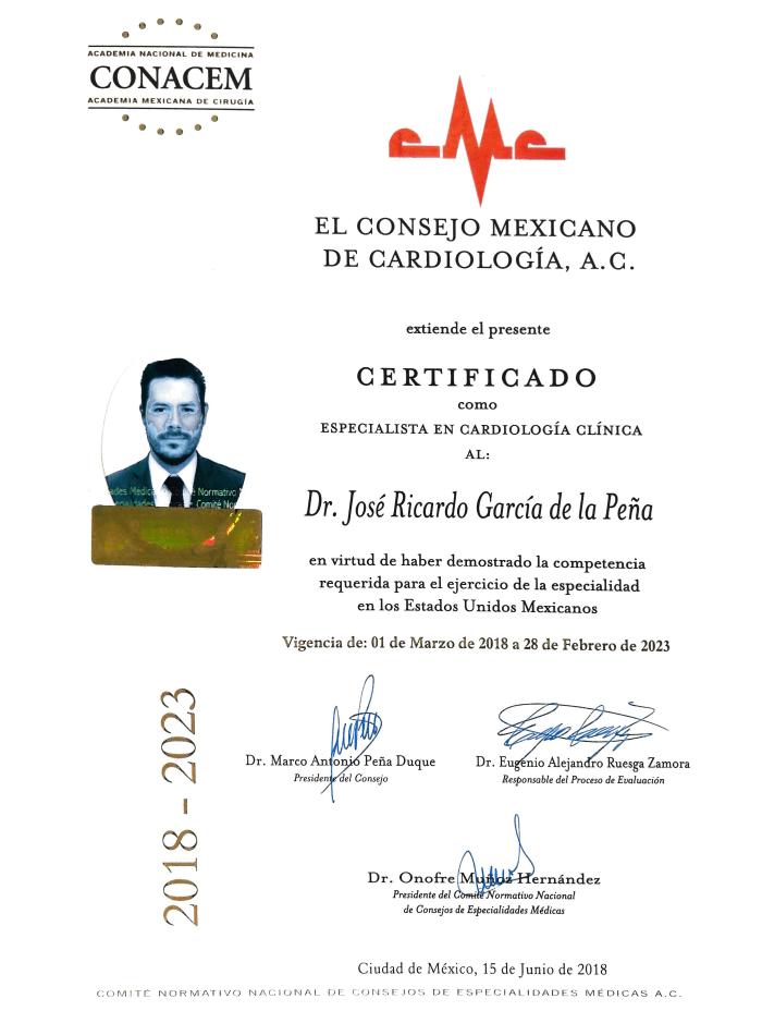 Certificados Cardiologia de Monterrey