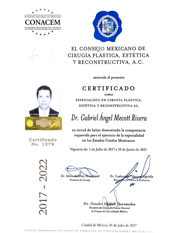 Certificado Cirugia Plastica de Monterrey