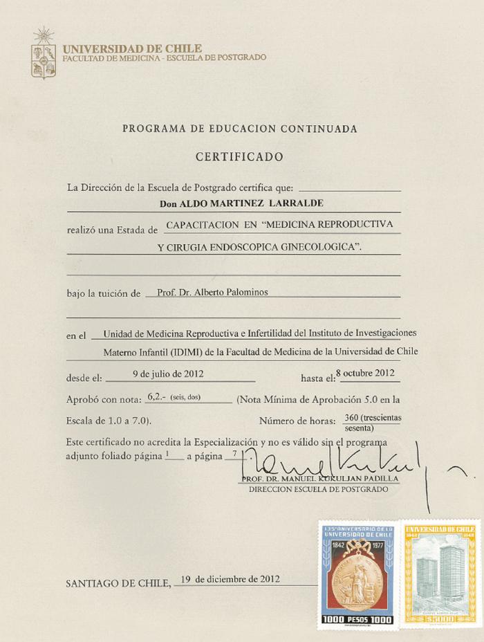 Certificado especialista en Fertilidad de Monterrey