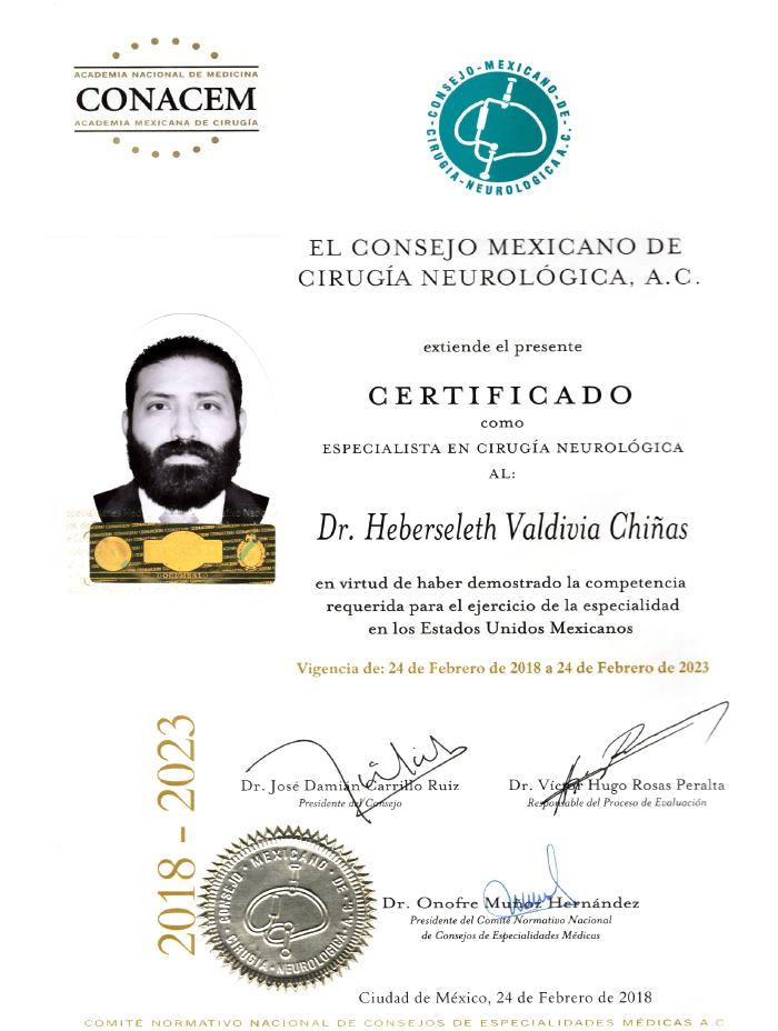 Certificado Neurocirujano de Monterrey