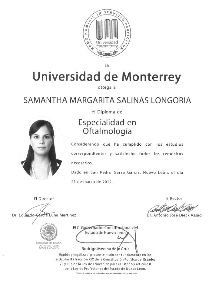 Certificado Oftalmologo de Monterrey