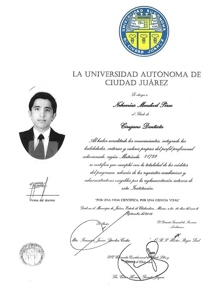 Certificado dentista de Nogales