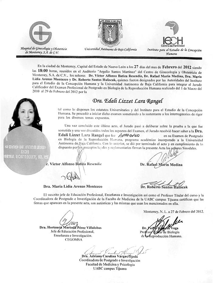 Certificados Ginecologia de Nuevo Laredo