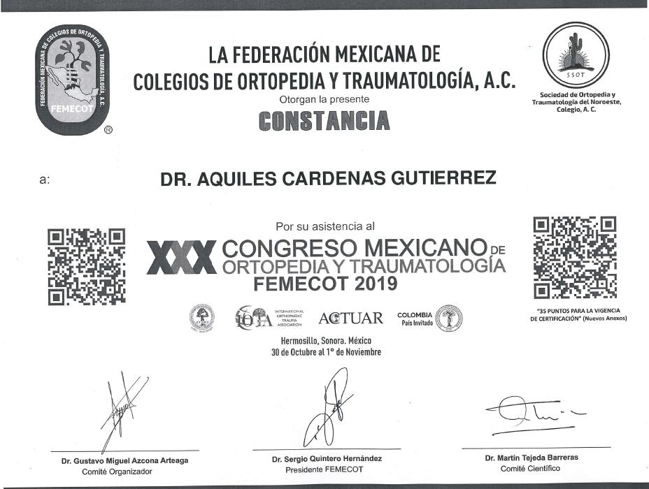 Certificado Ortopedia de Nuevo Laredo