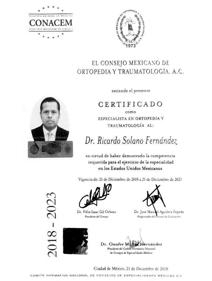 Certificado Ortopedia de Oaxaca