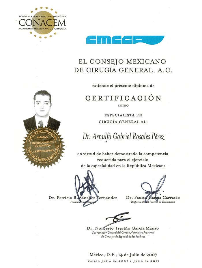 Certificado Bariatra de Piedras Negras