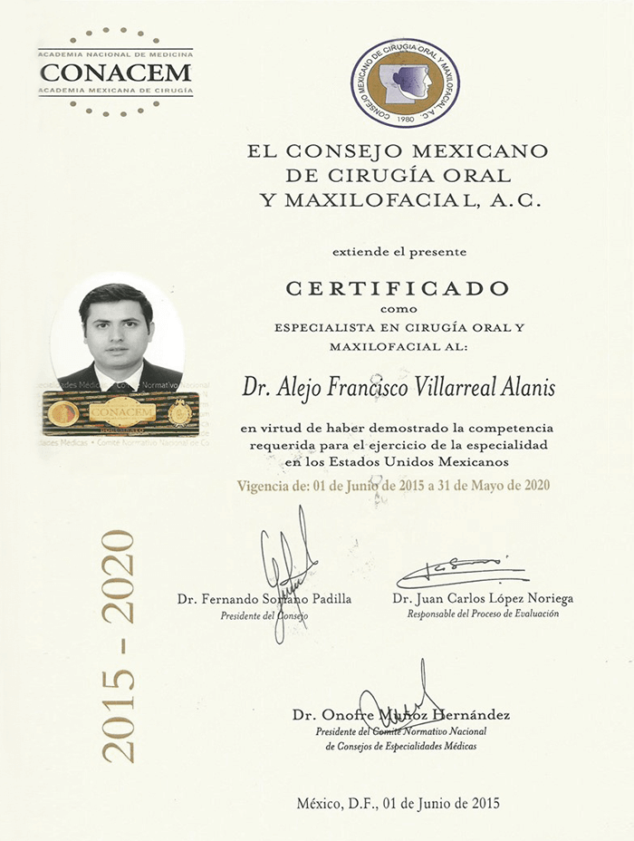 Certificado Maxilofacial de Piedras Negras