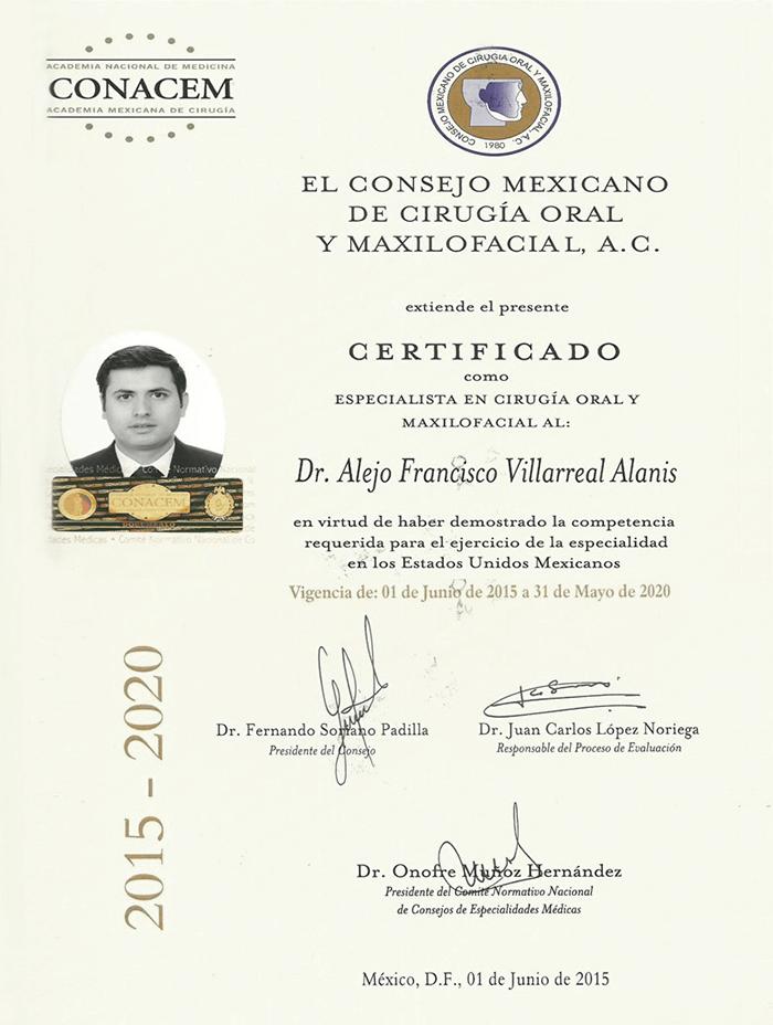 Certificado dentista de Piedras Negras