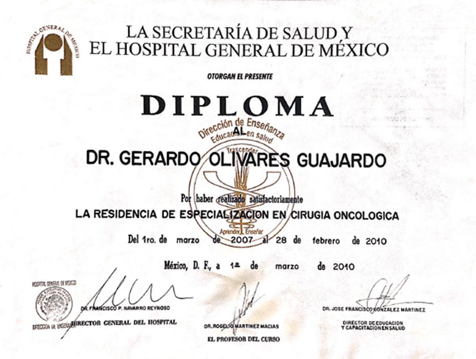Certificados oncologia de Piedras Negras