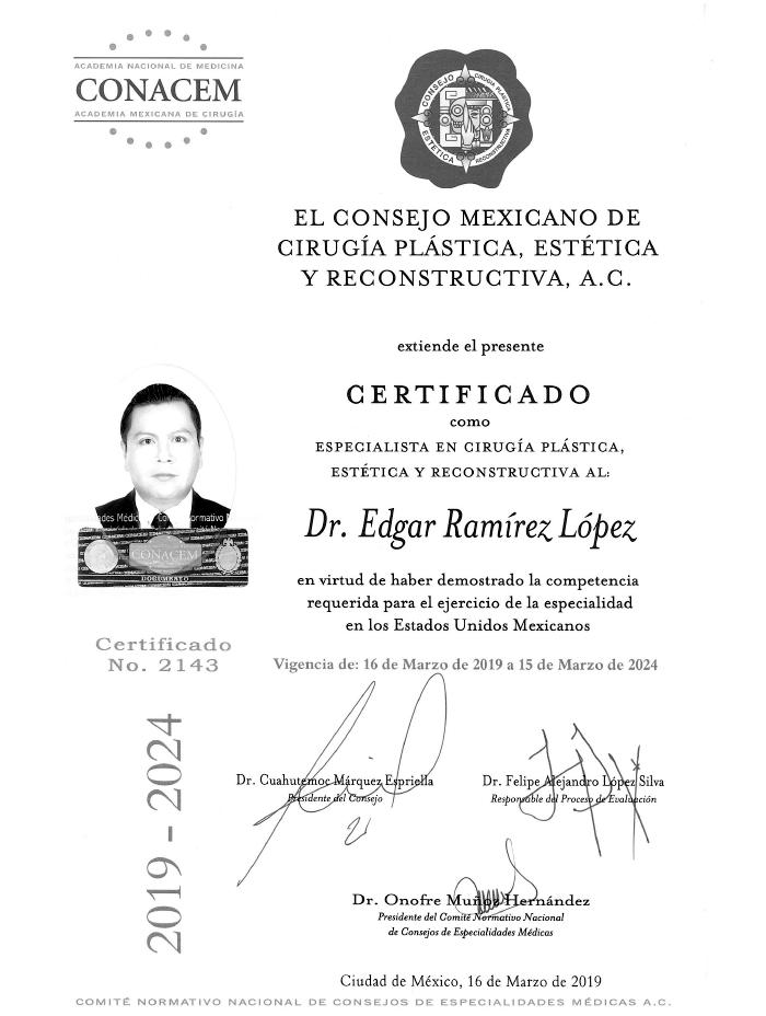 Certificado Cirugia Plastica de Queretaro