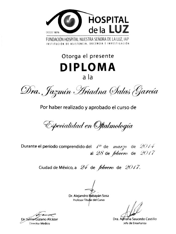 Certificado Oftalmologo de Queretaro