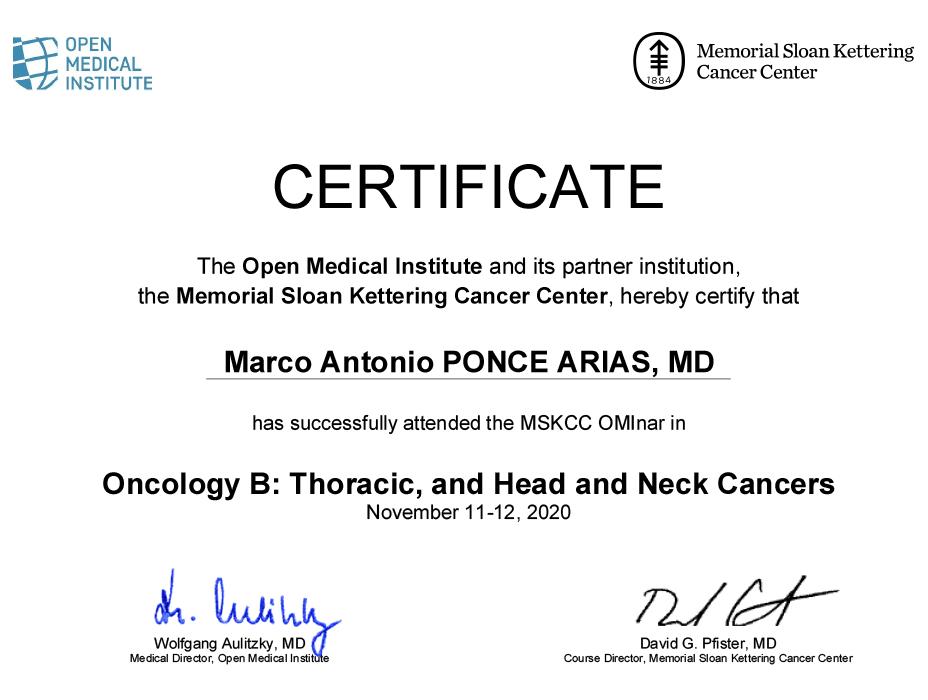 Certificados oncologia de Queretaro