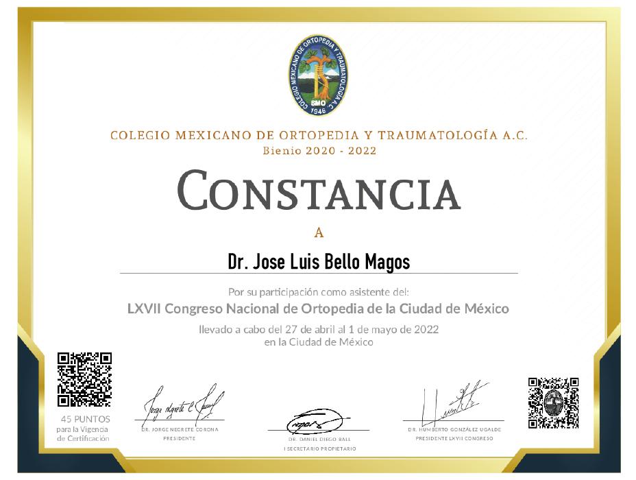 Certificado Ortopedia de Queretaro