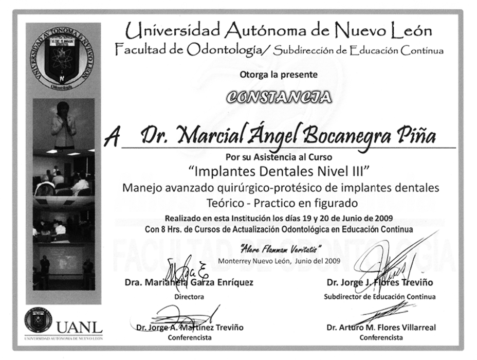Certificado dentista de Reynosa