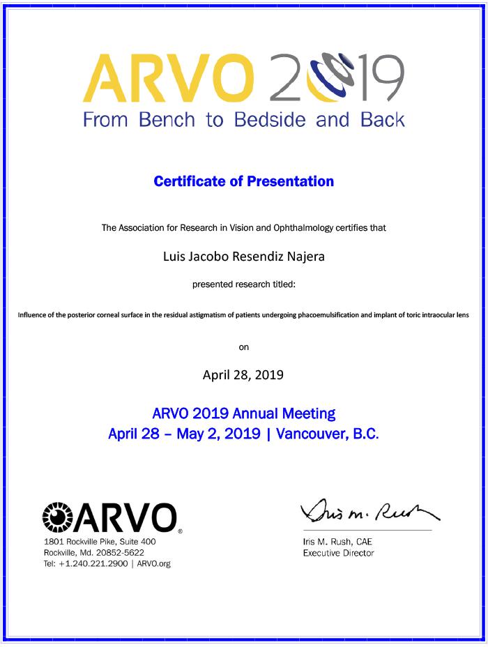 Certificado Oftalmologo de Reynosa