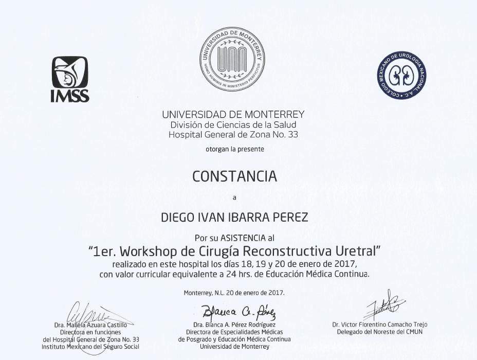 Certificados Urologia de Los Cabos